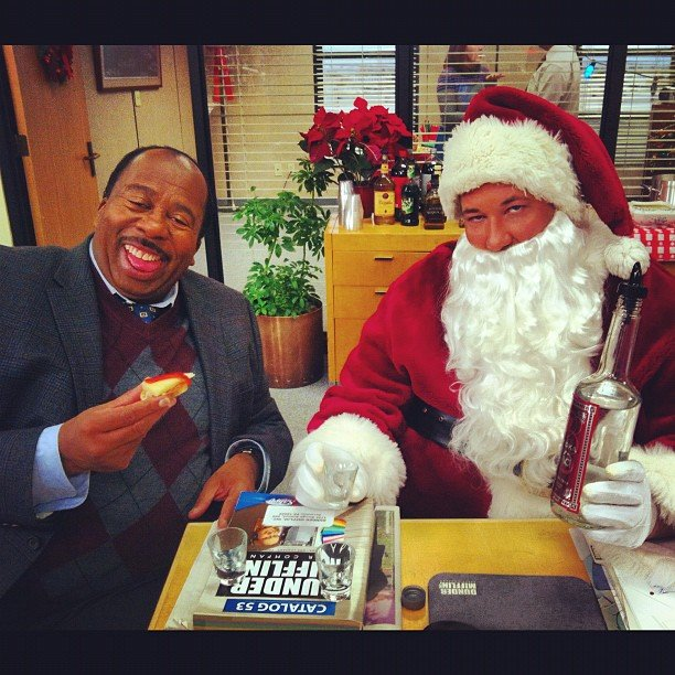 The Office costars joked around in holiday gear on set.  Source: Instagram user angelakinsey