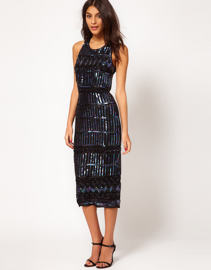 With this kind of embellishing, your ASOS midi dress ($207) needs little in the way of accessorizing or outerwear.