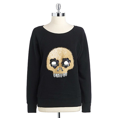 How cute is this French Connection sequined skull cotton sweatshirt ($71, originally $118)?