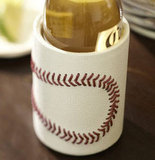 Hit a gift-giving home run with this leather baseball bottle koozie ($17).