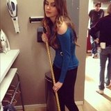 Sofia Vergara swept up with a trendy broom on the set of Modern Family. Source: Instagram user jessetyler
