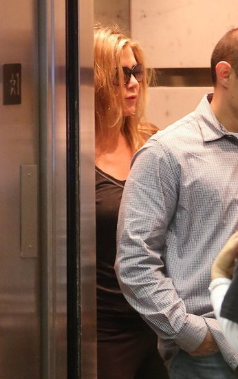 Jennifer Aniston wore sunglasses and a casual outfit.