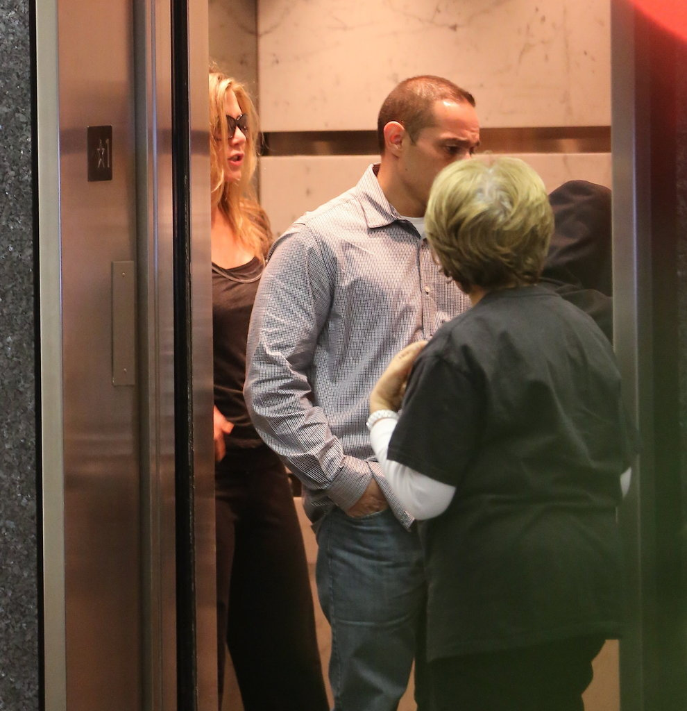 Jennifer Aniston got into an elevator.