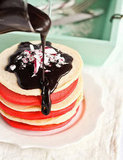Christmas Pancakes With Candy Cane Chocolate Syrup