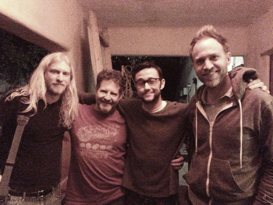 Joseph Gordon-Levitt gathered around with his pals after a recording session. Source: Twitter user hitRECordJoe