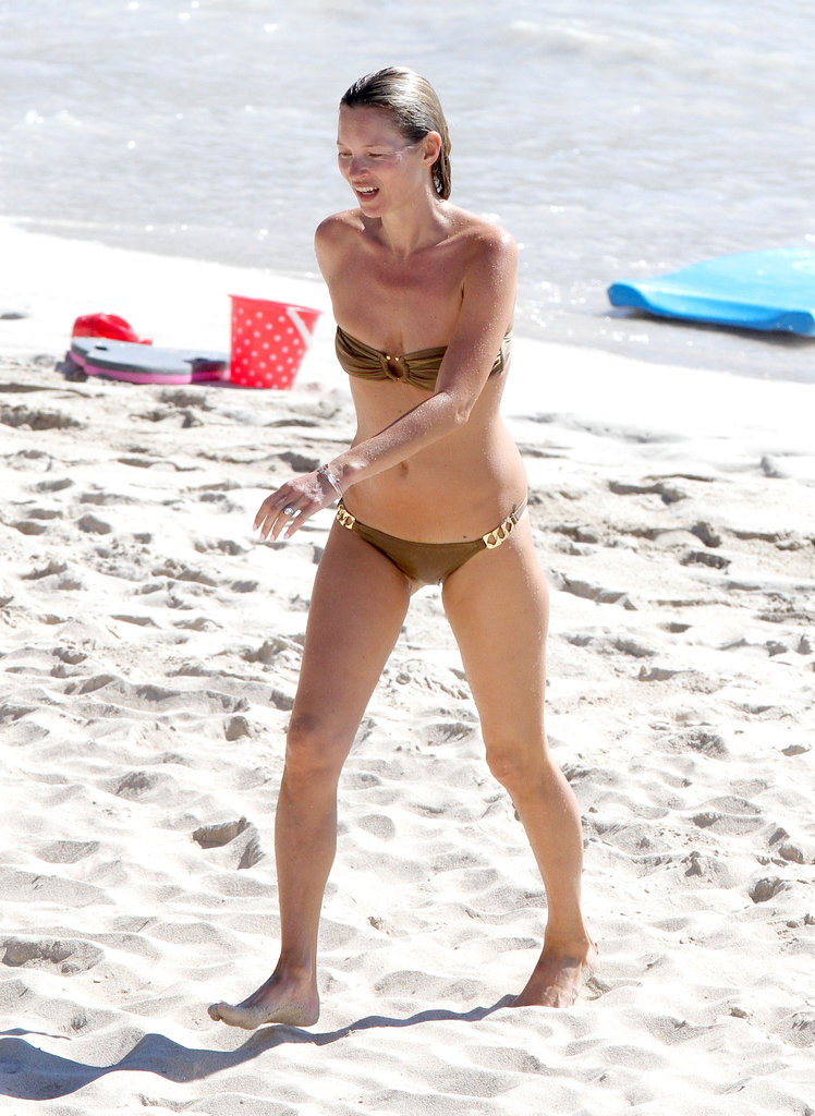 Kate Moss wore a bikini to the beach.