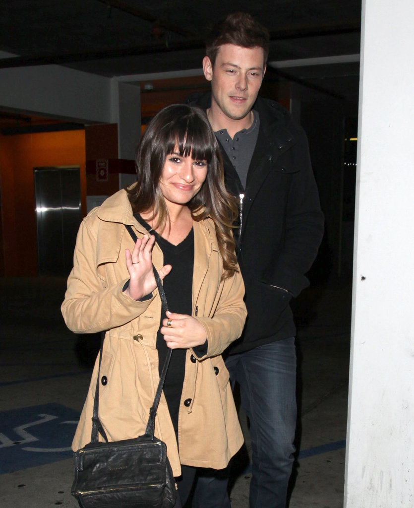 Lea Michele waved to the cameras on her date.