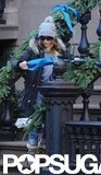Sarah Jessica Parker put up ribbons outside her home in NYC.