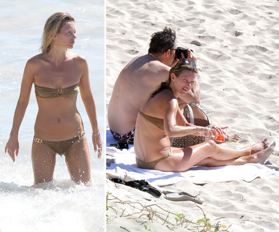 Kate Moss Sports a Tiny Bikini While Splashing Around St. Barts