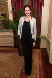 Hilary Rhoda added a little seasonal chic with a tweedy jacket over an all-black ensemble.