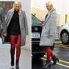Gwen Stefani Red Leather Pants in LA 2012