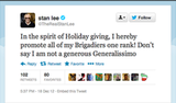 Former Marvel Comics chairman Stan Lee gave a generous holiday bonus to his Brigadiers.