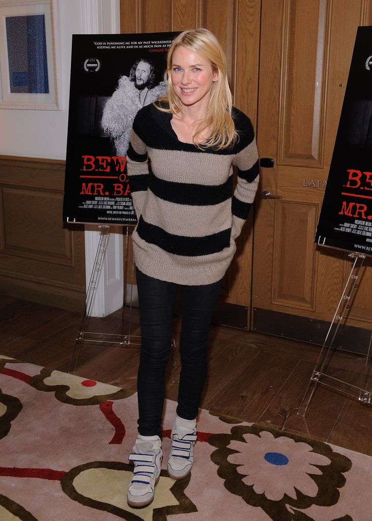 Naomi Watts paired a cozy striped sweater and black pants with two-toned Isabel Marant kicks.