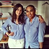 Associate Editor Hannah and Fashionologie's Justin Fenner sported matching blue gingham at the NYC office.