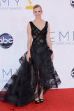 January Jones went outside of the box with a darker kind of glamour — a Zac Posen kind of glamour — at this year's Emmy Awards. We loved this daring choice, and applaud her for making it.
