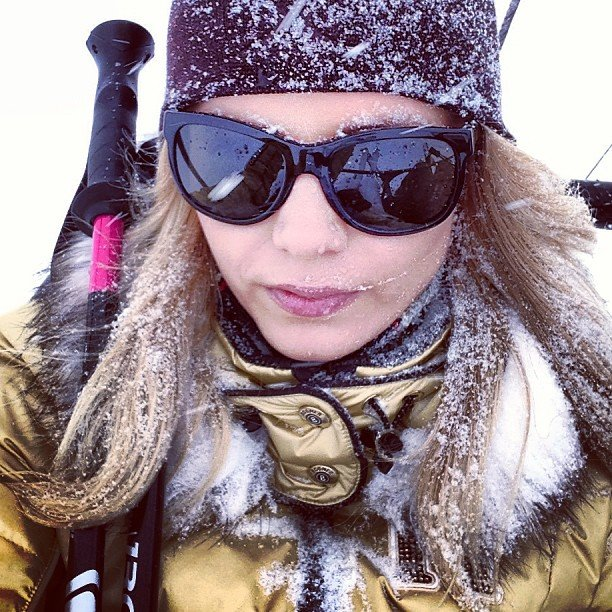 Natasha Poly was covered in snow while skiing. Source: Instagram user natashapoly