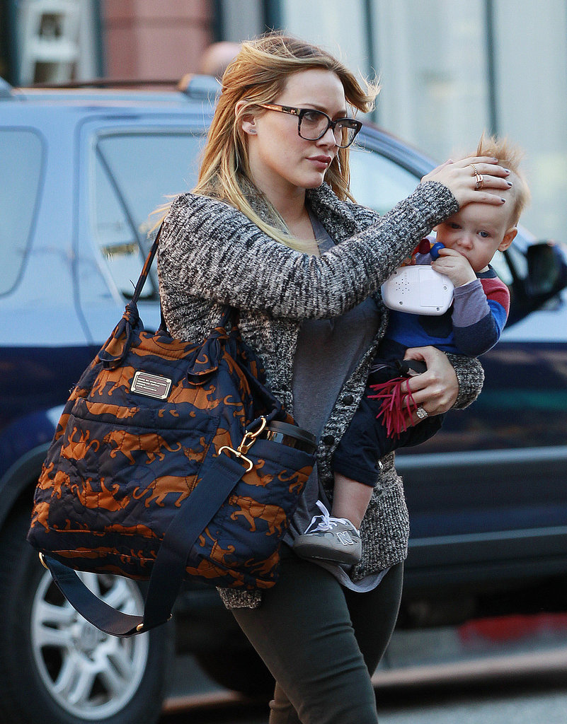 Hilary Duff wore black framed glasses.