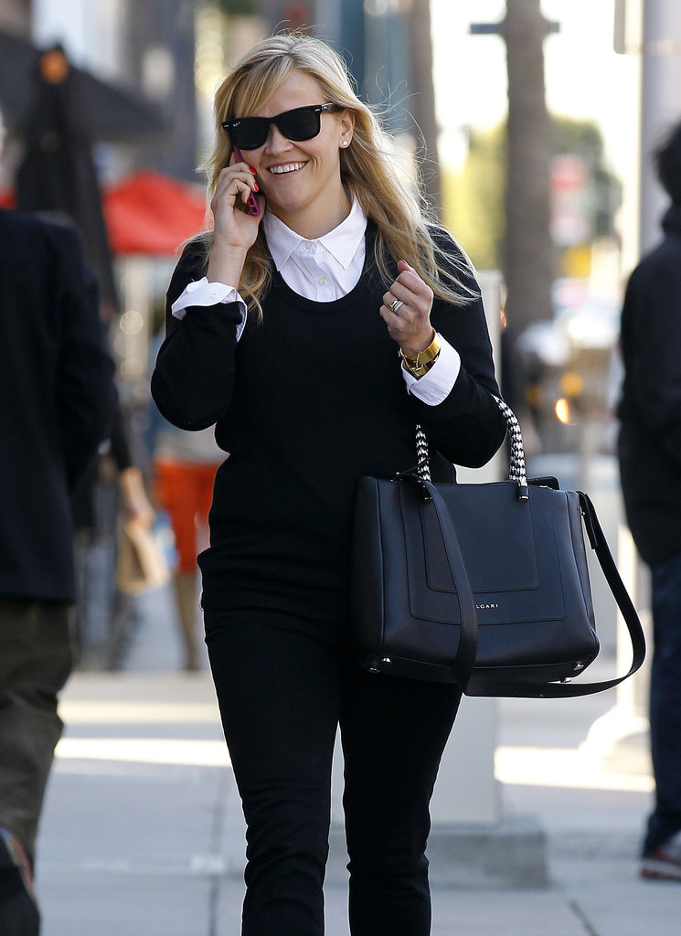 Reese Witherspoon laughed while on the phone in LA.