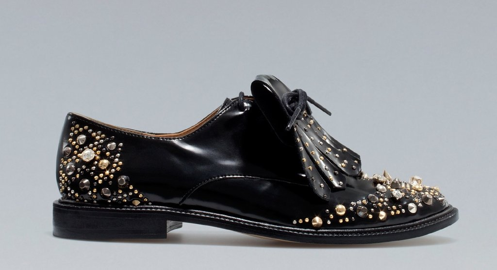 Zara Embellished Lace-Up Flats ($100, originally $169)