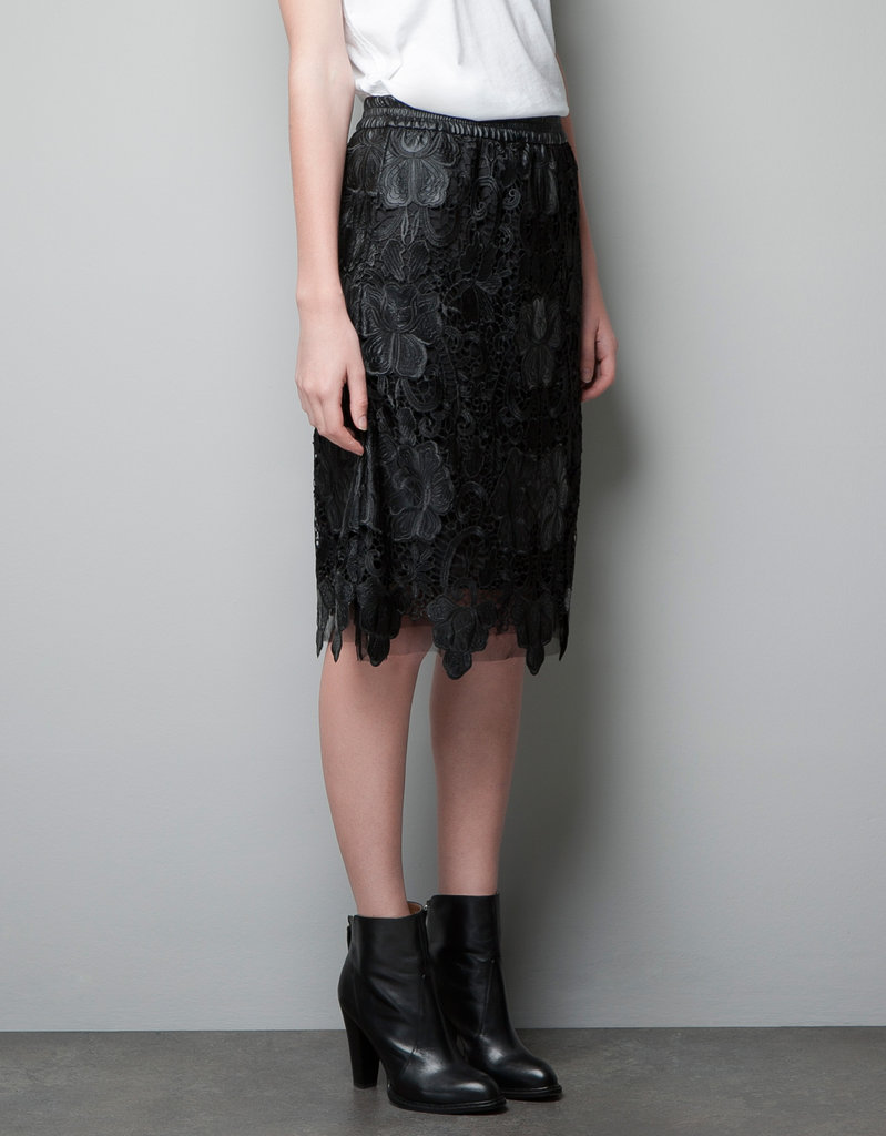 Zara Crochet Faux Leather Skirt ($70, originally $90)