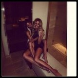 Jen got tangled up in her sister's legs! Source: Instagram user jenhawkins_