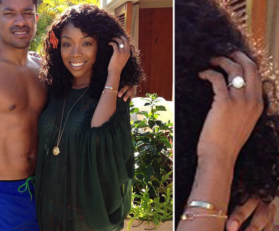 Brandy showed off her rock from Ryan Press during a December 2012 vacation to Hawaii.  Source: Instagram user 4everbrandy
