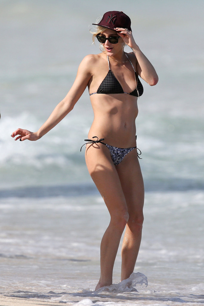 Ashlee Simpson sported a hat with her bikini.