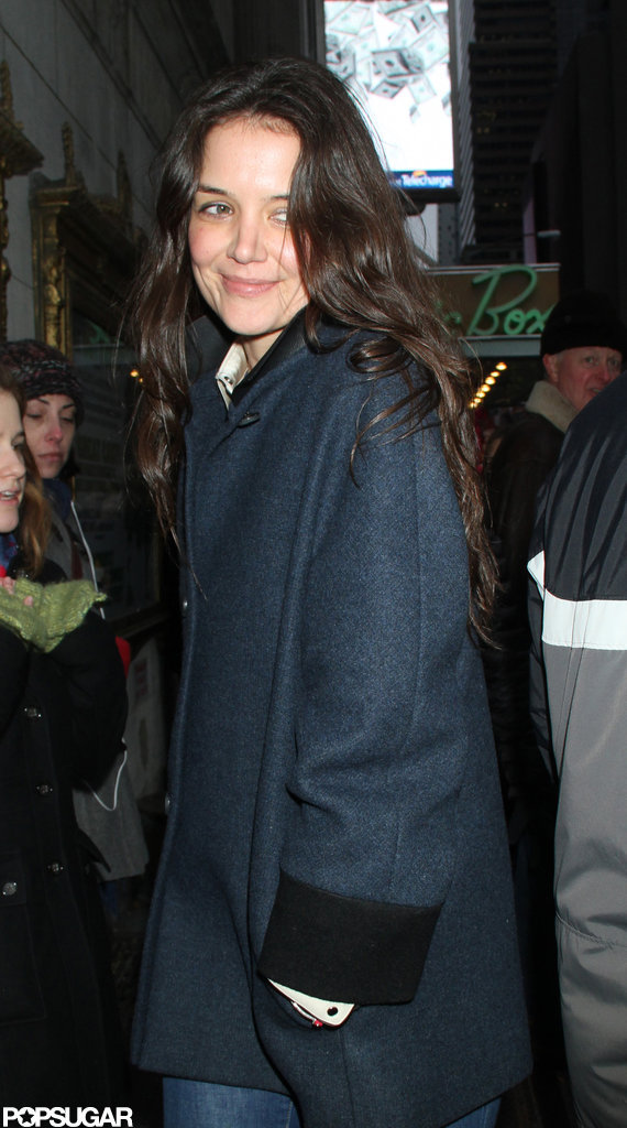 Katie Holmes heads into the Music Box Theatre for her new play.