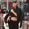 Rihanna Wearing Black Cropped Top
