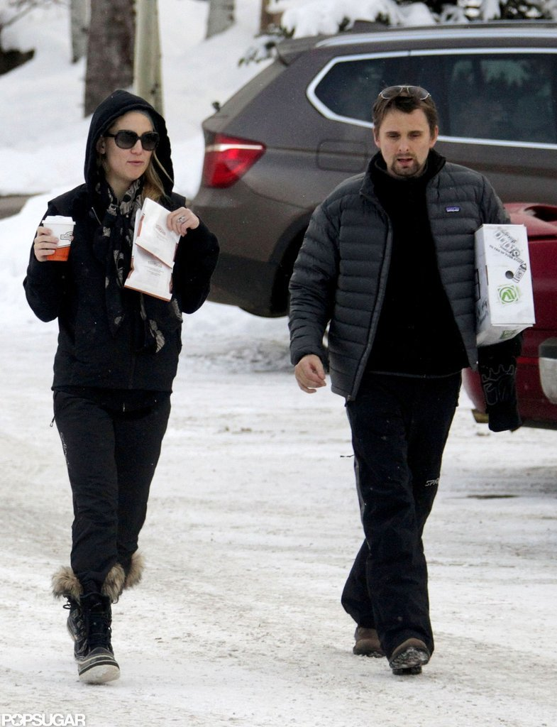 Kate Hudson and Matthew Bellamy shopped around Aspen.