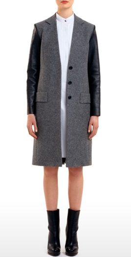 Croc-embossed sleeves provide a modern finish to this streamlined Alexander Wang coat ($478, originally $995).