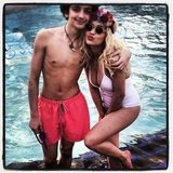 Rita Ora hit the pool with a friend. Source: Instagram user ritaora