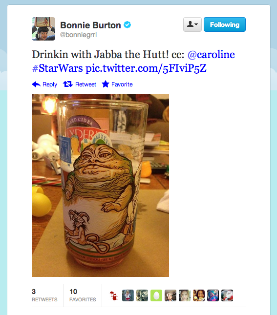 The Tatooine thug returns . . . on Revision 3 social media director Bonnie Burton's amazing drinking glass.