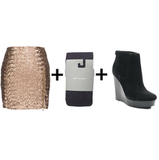 Who said sequin skirts are only good for the holidays? Wear yours with gray tights and black suede booties to downplay the sparkle.  Get the look:  Dress the Population sequin miniskirt ($140) Club Monaco heathered tights ($30) Michael Michael Kors suede ankle booties ($170, originally $225)