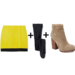 For a major dose of color, try a bright miniskirt, then temper it with navy tights and taupe boots. 