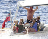 Liev Schreiber boated with Naomi Watts and their sons, Samuel and Kai Schreiber, in St. Barts in January.