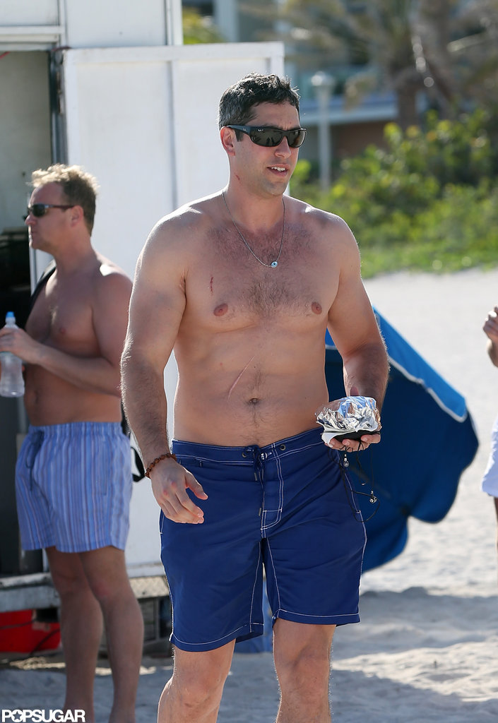 Nick Loeb was shirtless on the beach.