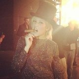 Ellie Goulding celebrated at midnight with a cigar and a top hat. Source: Twitter user elliegoulding