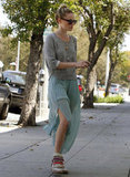 Kate showed us a brand-new way to wear our favorite wedge sneakers  in April 2012, pairing them with a gray pullover and a frothy mint-colored maxi skirt.