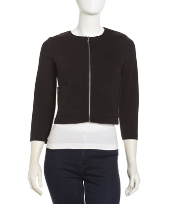 If you seek something basic, then this Laundry by Shelli Segal black cropped zip jacket ($45, originally $225) will satiate your simple appetite. Zip it up for a polished feel, and unzip it for a more casual vibe.