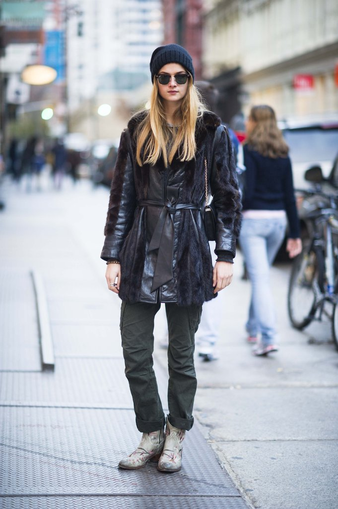 Counter a luxe, textured coat with a street-cool beanie. Source: Adam Katz Sinding