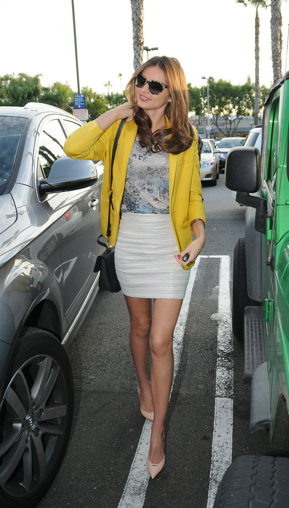 Miranda Kerr made her look pop with a bright Stella McCartney blazer.