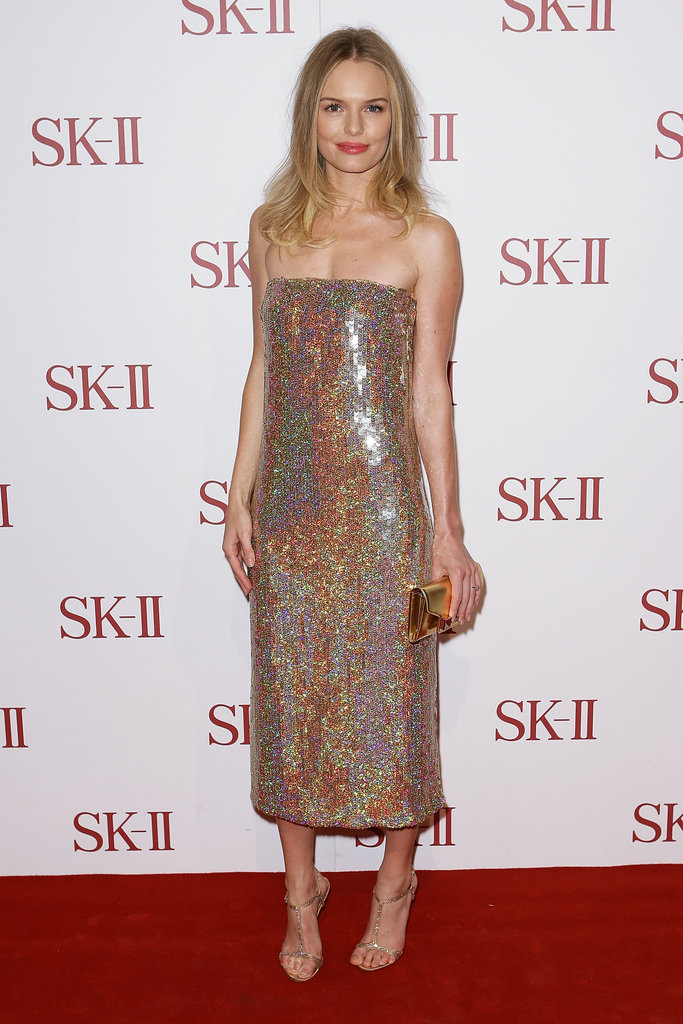 Kate simply glowed in a glittery strapless Stella McCartney dress at an event for SK-II in Sydney in October 2012.