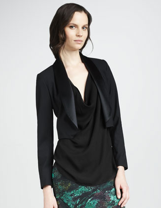 Haute Hippie's cropped shawl-collar jacket ($197, originally $395) would add a fancy flair to almost anything it tops. We especially love the silky lapels.
