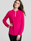 The easiest way to spice up your work outfit is to wear a colorful blouse, like this bright pink one we love from DKNY ($165, originally $235), which also comes in fiery red.