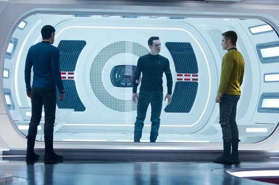 Zachary Quinto, Benedict Cumberbatch, and Chris PIne in Star Trek Into Darkness.