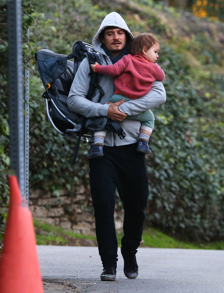 Orlando Bloom carried Flynn Bloom during a walk.