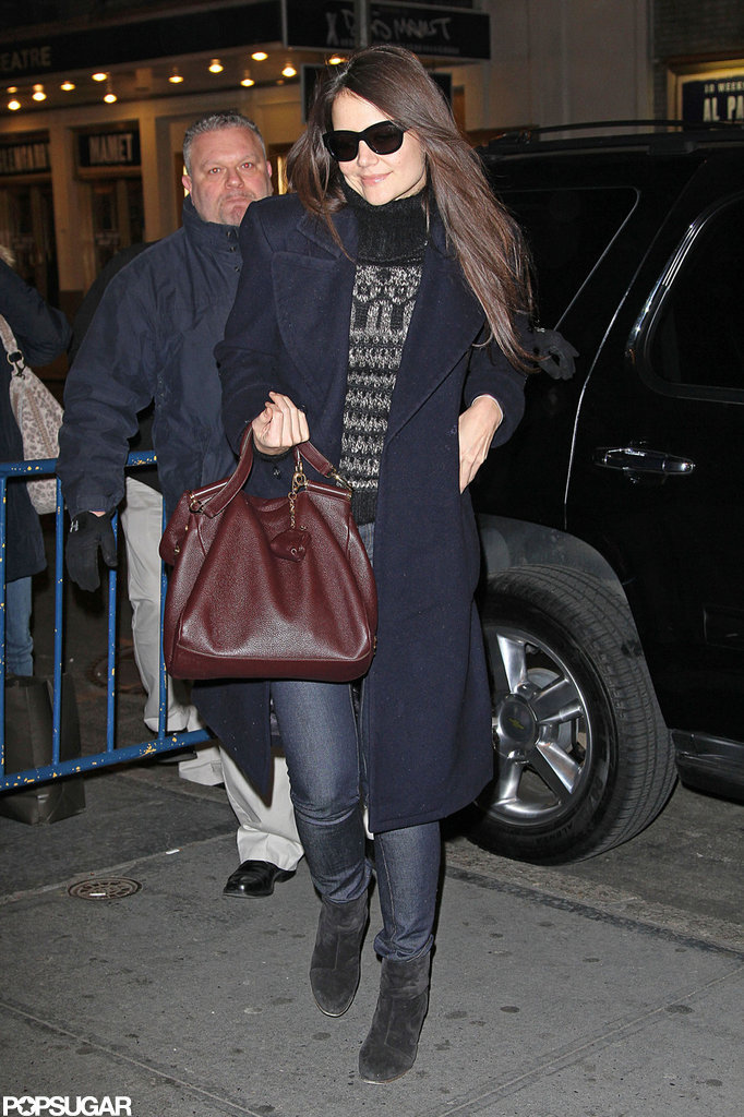 Katie Holmes arrived at the Music Box Theatre for one of her last performances of Dead Accounts.