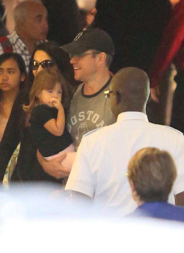 Matt Damon and Stella Damon walked through LAX.