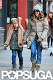 Sarah Jessica Parker wore a puffer jacket to take James Wilkie Broderick for a walk.